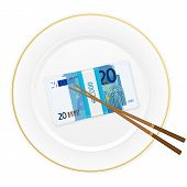 Plate Chopsticks And Twenty Euro Pack
