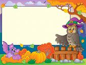 Autumn frame with Halloween theme 5 - eps10 vector illustration.