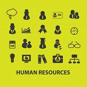 human resources, management, organization icons, signs, symbols set, vector