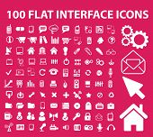 100 flat interface icons, signs, symbols set, vector