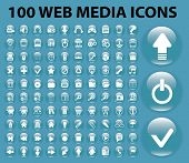 100 web media, mobile, internet, website glossy circle buttons icons, signs, symbols set, vector