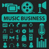 music business, radio record, audio, video, movie icons, signs, symbols set, vector