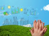 Happy cheerful smiley fingers looking at hand drawn urban city landscape