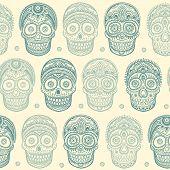 Vintage ethnic hand drawn human skull seamless