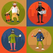Hipsters characters design with hipster elements in modern flat style.Vector illustration.