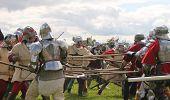 Wars of Roses Medieval re-enactors staging Battle of Tewkesbury