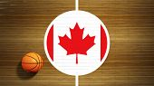 Basketball court parquet floor center with flag of Canada