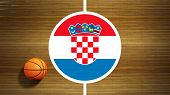 Basketball court parquet floor center with flag of Croatia