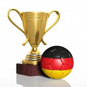 Golden trophy and ball with flag of Germany isolated