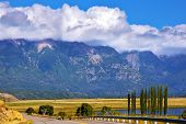 Patagonia. The longest road the Ruta 40 passes in Argentina among lakes and fields. Magnificent cumu