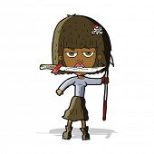cartoon woman with knife and harpoon