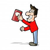 cartoon man with book
