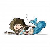 cartoon mermaid covered in tattoos