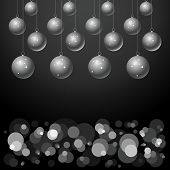 silver balls on black background