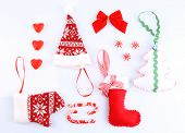Collection of Christmas objects isolated on white