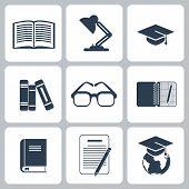 Black education icons set on white