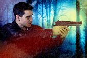 foto of hunter  - young ghost hunter in a haunted forest - JPG