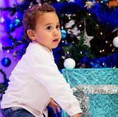 Child Near Christmas Tree.