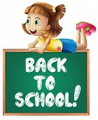 Illustration of a girl with back to school sign