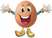 Illustration of an egg with happy face