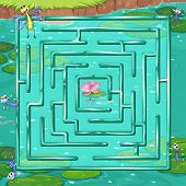 Illustration of a maze game with a pond background