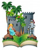 Illustration of a popup book of a princess and a knight