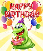 Illustration of a birthday card with monster