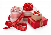 Gift packaging boxes with a bow. Merry Christmas & New Years Eve concept