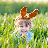Funny Kid Boy Of 3 Years With Easter Bunny Ears, Celebrating Easter Holiday
