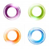 Vector abstract  circles set.  Blue, green, orange and violet colors. Banner, flyer or Logo design template .