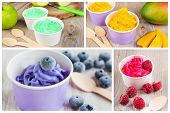 Collage Of Four Different Frozen Creamy Ice Yoghurts