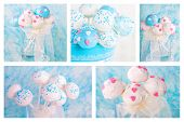 Collage Of Cake Pops In White And Soft Blue. For Wedding, Birthday Or Valentine's Day.