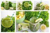 Collage Of Fresh Organic Green Vegan Smoothie With Salad, Apple, Cucumber, Pineap