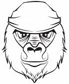 Gorilla head. Black and white drawing