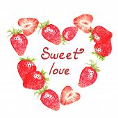 Watercolor hand drawn illustration. Heart made with red ripe strawberries on the white background an