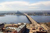 View Of Daugava River, Library And Akmens Bridge. Riga, Latvia