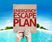 stock photo of disaster preparedness  - Emergency Escape Plan card with beach background - JPG
