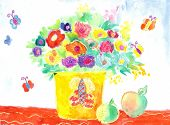 Watercolor Children Drawing Flowers