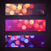 Set Of Vector Banners, Realistic Abstract Background With Blurred Defocused Colorful Bokeh Lights