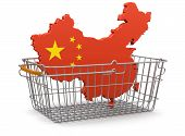 Shopping Basket and China map (clipping path included)