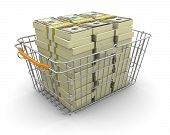 Shopping Basket and Pile of Dollars (clipping path included)