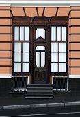 the wooden door and windows