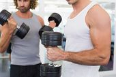 Mid section of sporty young men exercising with dumbbells in the gym