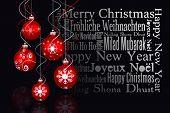Digital hanging christmas bauble decoration against black