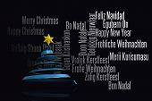 Blue christmas tree design against black