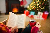 Woman reading a book and drinking coffee at christmas at home in the living room