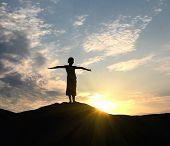 Young Man Go Up In Sand Desert In Sundown