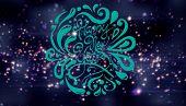 Elegant happy new year against purple bright glittering light circles