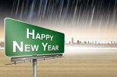 Happy new year against city on the horizon
