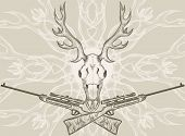 Deer skull and crossed rifles